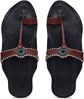 KALAPURI� Womens Kolhapuri Chappal in Genuine Leather with Black Pointed Shape Base and Tiny Brown Upper. Handmade in Kolh...