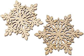 TOYMYTOY 10pcs Christmas Wooden Ornaments Wood Snowflake Ornaments Xmas Tree Hanging Decoration with Drawstrings for DIY C...