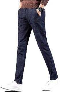 [Sposee] チノパン 細身 無地 伸縮性 チェック オフィス 通勤 スラックス ストレッチ スキニー 29 〜 34 メンズ