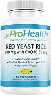 ProHealth Red Yeast Rice with CoQ10 (60 Veg Capsules - 30 Servings) Free of Gluten, Soy, Milk, Egg, Fish, Shellfish or Tre...