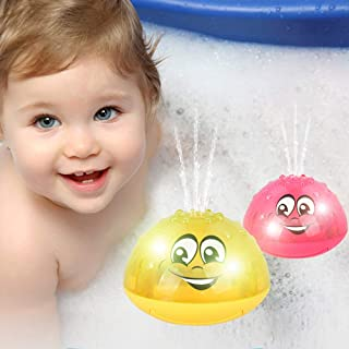 SYLOTS 2 Pack Bath Toy Light, Electric Induction UFO Shape Electric Induction Sprinkler Toy Multifunctional Automatic Light Play Water Toys for Baby Toddler Infant Kids (Yellow and Red)