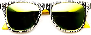 Native Print Two-Tone Color Mirror Lens Horn Rimmed Sunglasses