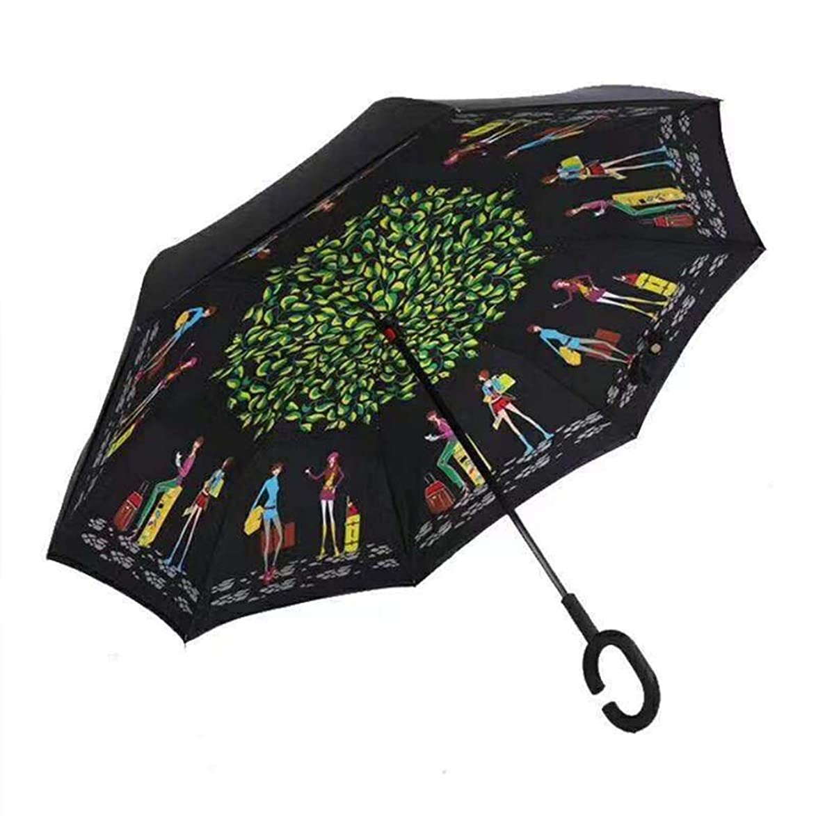 少なくとも樫の木誓いYSYYSH 傘逆傘ハンズフリーロングハンドル傘C型ハンドルは保持するのが快適で旅行ガール124 CM×80 CMに高速 クラシック傘