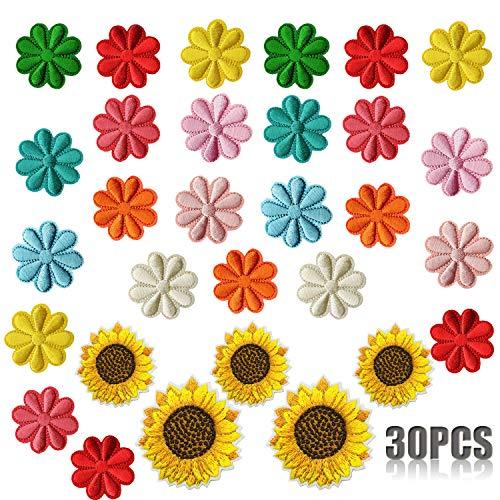 Woohome Sonnenblume Patches zum Aufbügeln, 30 Stück Blume Patch Sticker für Kleidung Blumen Aufnäher Applikation Flicken Zum Aufbügeln Kinder Patches für DIY T-Shirt Jeans