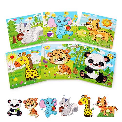 BelleStyle Rompecabezas de Madera, 6x9 Piezas Puzzles de Madera, Rompecabezas de Animales Montessori Juguete - Educativos Aprendizaje Juegos y Juguetes para Pequeños Niños y Niñas 2-5 Años de Edad