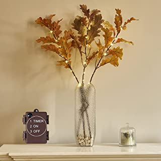 LITBLOOM Lighted Autumn Oak Branches with Timer 25IN 24L LED, Fall Tree Branches Lights Battery Operated for Harvest Thank...