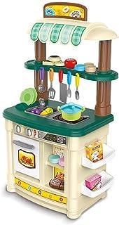 子供用調理玩具 シミュレーションキッチンセット ハウスキッチン玩具 ガール知育玩具 多機能シミュレーションストーブ玩具 3-7誕生日プレゼント (Color : Green, Size : 30*47*85cm)