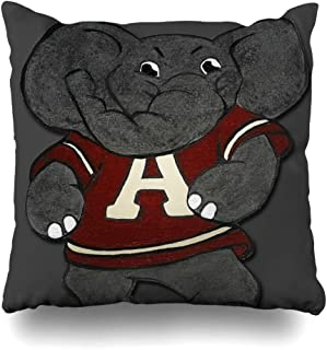 Ahawoso Throw Pillow Cover Square 16x16 Inches Alabama Roll Tide Elephant Mascot Decorative Pillow Case Home Decor Pillowcase
