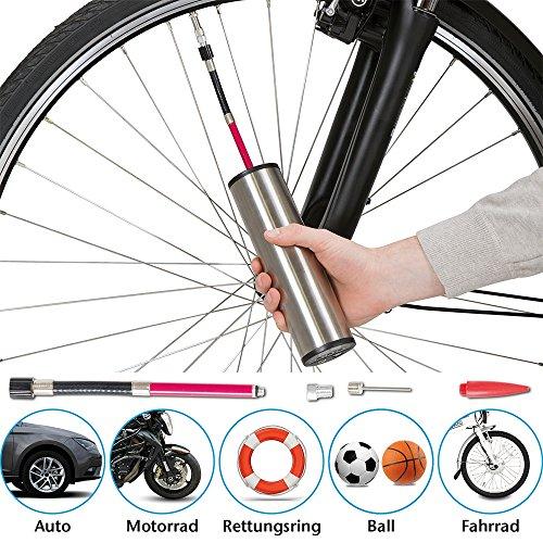 maxVitalis Elektrische Luftpumpe, Luftkompressor, Akku aufladbar mit LCD-Display, kabellos, vollautomatisches Ausblasen, inkl. 4 Ventiladapter, tragbar, Mini Auto-Luftpumpe