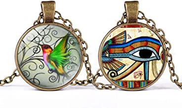 Vintage Hummingbird Pendant, Horus Eye Necklace Two in One, Bohemian Style, Women's Jewelry Charm Necklace,Small Gift,Gifts for Children,for Mom, for Girlfriend
