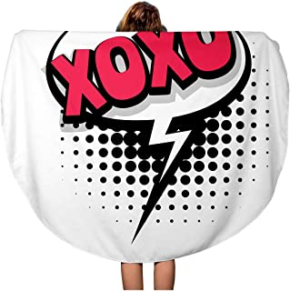 Pinbeam Beach Towel Lettering XOXO Kiss Slang Comic Text Sound Effects Travel 60 inches Round Tapestry Beach Blanket