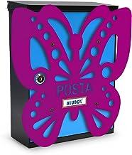 Aluminium box Farfalla brievenbus Mia met deur, meerkleurig, 2-delige set