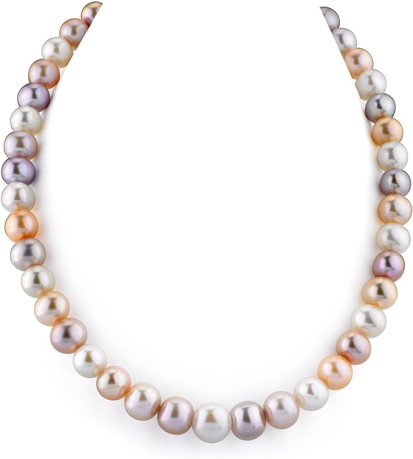 THE PEARL SOURCE 14K Gold 10-11mm AAA Quality Multicolor Freshwater Cultured Pearl Necklace for Women in 18