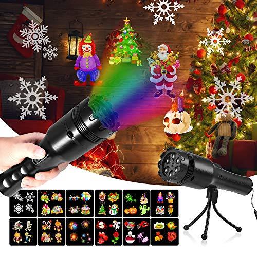 mimoday Luces de Proyección Navideña Luces Decorativo con 12 Películas y Fijas con Batería Portátil Y Trípode para Niños y Decoración de Fiestas en Hogar, Cumpleaños, Navidad, Halloween