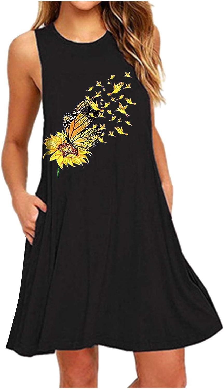 Oiumov Boho Dress for Women Casual Summer Plain Daisy Tie-dye Ruffled A-line Cami Casual Mini Beachwear Dress Sundress
