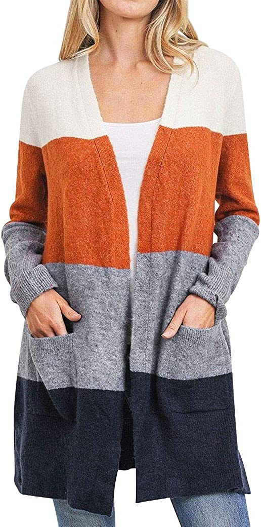70% OFF Outlet ZXZY Womens low-pricing Fall Cardigan Color Kimono Pockets with Casual Block