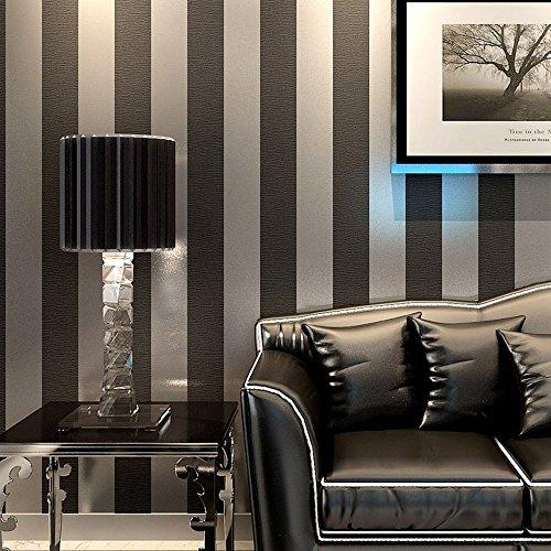 Ketian Papel pintado de rayas verticales moderno minimalista de PVC para dormitorio o sala de estar sin tejer Black Gray 0.53m x 10m=5.3m2