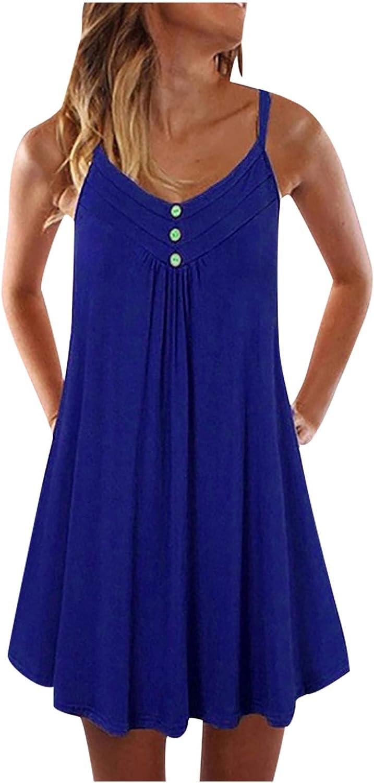 SAMCBANDU Summer Dresses for Women Sleeveless Strap Dress Casual Boho Beach Sundress Sexy Short Mini Dresses