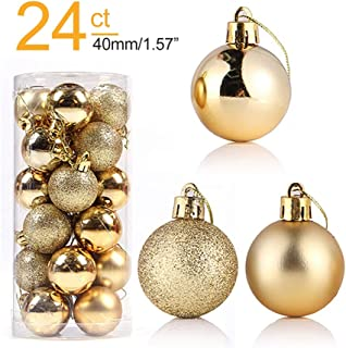 24ct Christmas Ball Ornaments Shatterproof Seasonal Decorative Hanging Baubles Set for Xmas, Holiday and Party (Color : Gold, Size : 40mm/1.57