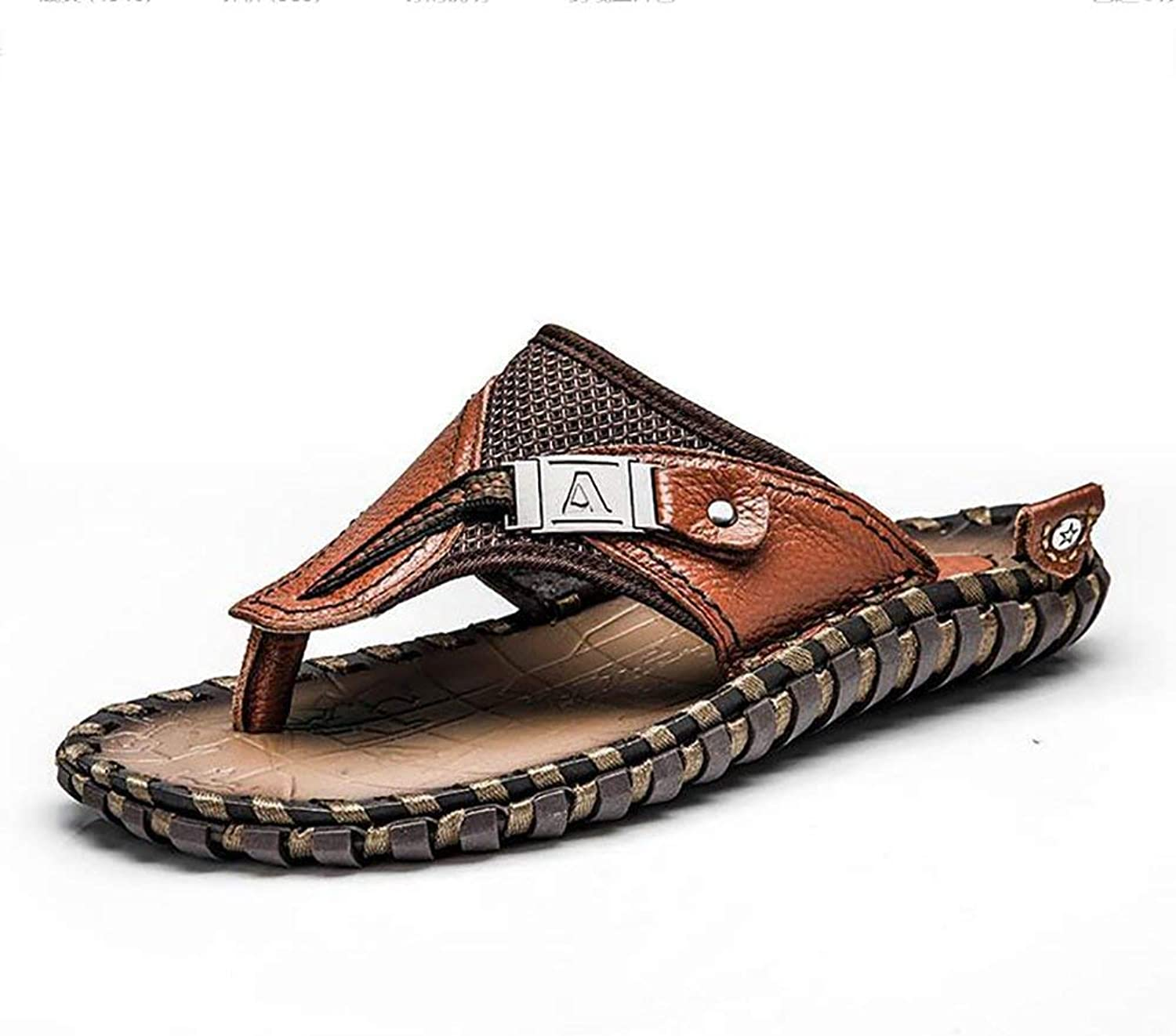 Oudan Men's Flip Flops Leather Sandals Handmade Summer Beach Large Size Cozy Slipper, Brown, 46 (color   Brown, Size   38)