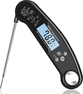 Foundfun Digital Meat Thermometer - Instant Read Cooking Thermometer for Grill Smoker Candy BBQ Thermometer (Ultra Fast, Backlight, Waterproof)