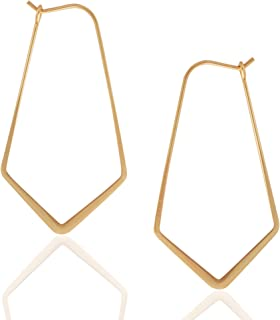 Humble Chic Geometric Chevron Hoop Threader Earrings for Women - Hypoallergenic Lightweight Cutout Thin Wire Drop Dangles...