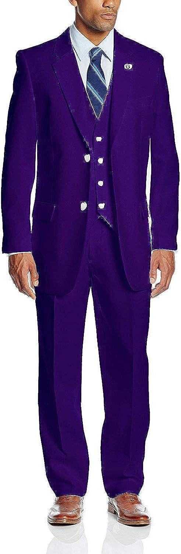 GATMSTZ Men's Notch Lapel 3 Pieces Wedding Suit Big and Tall Tuxedo Vest Pants (Grape,56R)