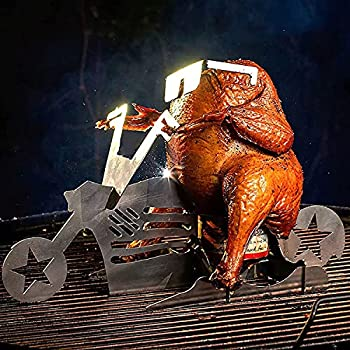 Beer Can Chicken Holder Motorcycle Shape Portable BBQ Grill Stand for Camping Party Accessories  Style B
