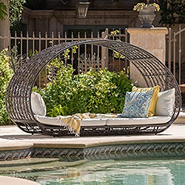 GDF Studio Bedford Outdoor Wicker Overhead Canopy Daybed w/Water Resistant Cushion (Multibrown/White)