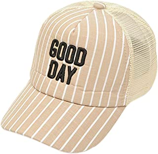 AMAZACER Kids Boy Girl Summer Cotton Stripe Embroidery Baseball Cap Casual Mesh Dad Hat (Color : Khaki)
