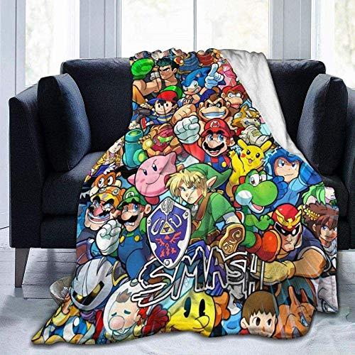 The Legend of Zelda Pi-Kachu Super Mario Smash Bros. Kirby Überwurf-Decken, Mikrofaser, Tagesdecke, Fleecedecken, Überwurf, ultraweiche Korallen-Tagesdecke für Schlafzimmer, Wohnzimmer, Sofa, Couch