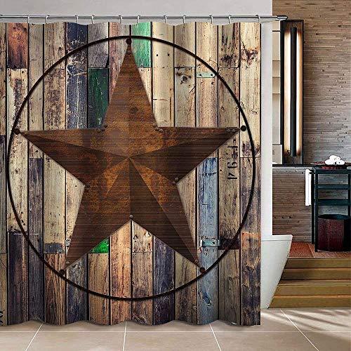 Uphome Rustic Barn Star Fabric Shower Curtain, Vintage Western Texas Star on Brown Polyester Shower Curtain for Bathroom Showers Bathtub (72' W x 72' H)