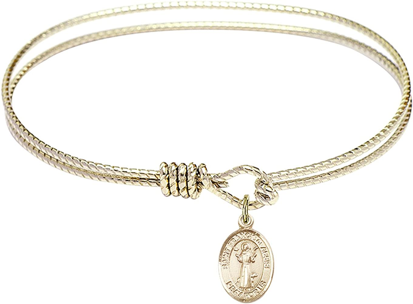 DiamondJewelryNY Eye Hook Bangle Bracelet with a St. Francis of