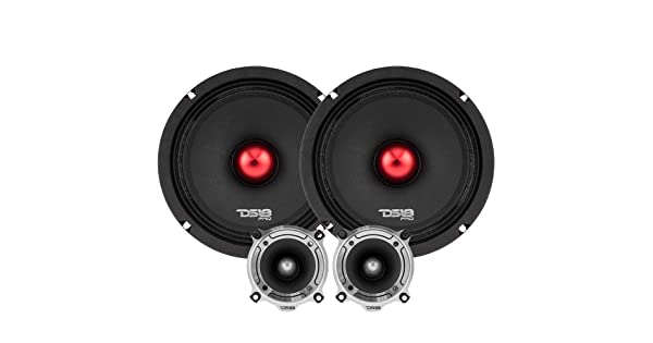 DS18 PRO-X64.BMPK Mid and High Complete Package Door Speakers for Car or Truck Stereo Sound System Includes 2X Midrange Loudspeaker 6.5 and 2X Aluminum Super Bullet Tweeter 1 Built in Crossover