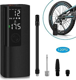 Reesibi Compresor de Aire Portátil Bomba Mini para Coche Bici Moto Fútbol Pelotas Scooter Hinchables Inflador, Compresor Eléctrico de Aire con Digital Pantalla LCD Linterna 2000mAh 120PSI 25L/min