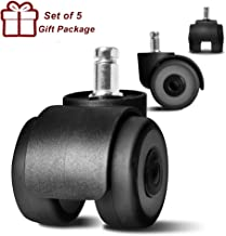 "Anyke 2"" Office Chair Wheels Replacement Upgrade Design Chair Casters Heavy Duty with 4 Bearings 700LBS Protect Hardwood Floors No More Chair Mat Set of 5"