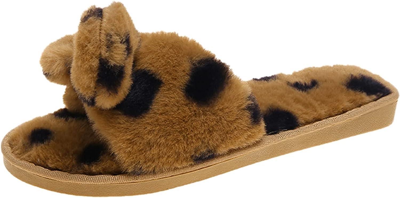 Womens Sliders Plush House Slippers Slip-on Furry Home Slippers Leopard Bow Open Toe Warm Flat Slipper Shoes