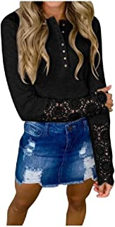 Zimaes Womens Blouse Slimming Sexy Button Down Lace Hem Line Tees Top