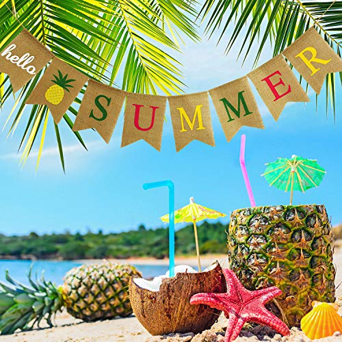 Hello Summer Burlap Banner Rustic Summer Banner with Flamingo Pattern Summer Garland Flag Decoration for Pool Party, Beach Party, Barbecue Party (Color Set 2)