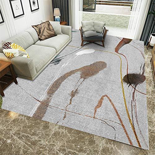 RUGMYW Moderno alfombras de Pasillo Graffiti Abstracto Blanco Amarillo Gris marrón Alfombra Escritorio 60X90cm
