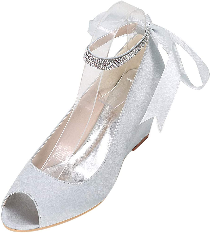 Vimedea Womens Peep Toe Ankle Straps Wedge Bridesmaid Pumps Bride Party Prom Y9140-13