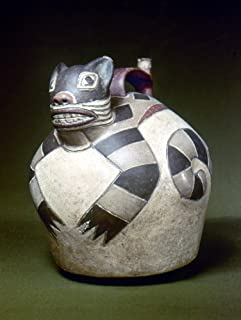 Peru Nazca Whistling Jar Nceramic Whistling Water Jar With A Sculpted Cat On The Top Made By The Nazca Civilization Of Ancient Peru 1St To 8Th Century AD Poster Print by (24 x 36)