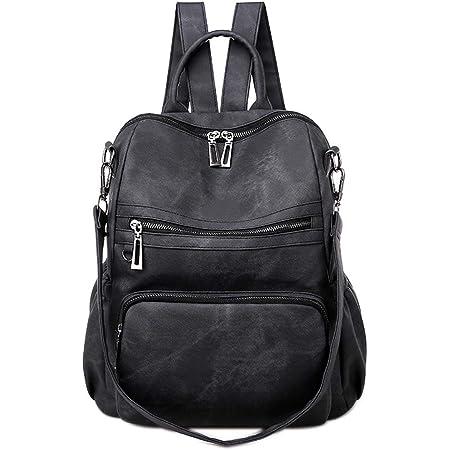 Neuleben Frauen Damen Rucksack Tasche Umhängetasche Daypack PU Leder Handtasche Schultertasche mit Diebstahlsicher Rucksacktasche Damentasche für Alltag Schule Uni Büro Reise (Schwarz)