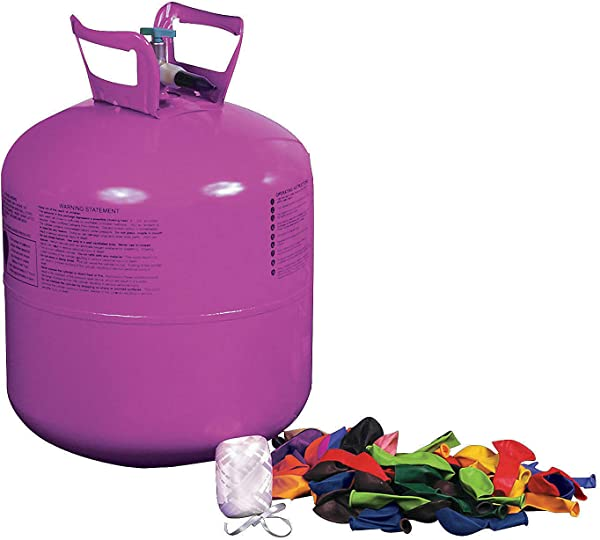 Helium Tank Kit For Party Includes Balloons And Ribbon