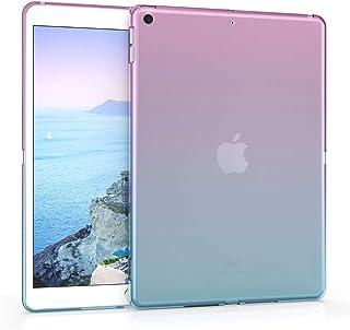 kwmobile 対応: Apple iPad 10.2 (2019) ケース - タブレットカバー - シリコン タブレット 保護ケース ツートーンデザイン ダークピンク/青色マット アイパッド