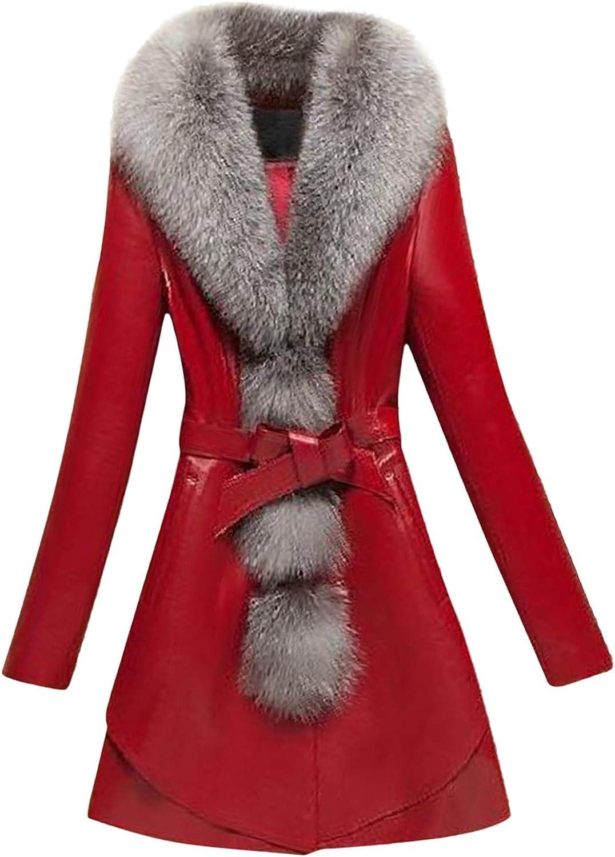 ZSBAYU Womens Winter Warm Faux Fur Elegant Jackets Coats Fashion Work Jacket Plus Size Plush Thick Overcoat Long Outwear
