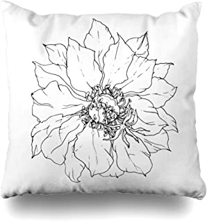 Ahawoso Throw Pillow Cover Square 18x18 Sketch White Tropical Cactus Flower Drawing Flora African Wedding Invitation Blossom Retro Nature Decorative Cushion Case Home Decor Zippered Pillowcase