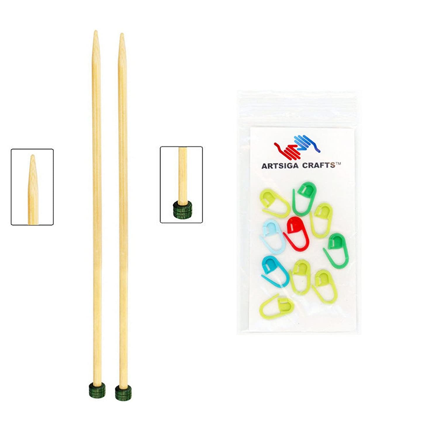 Knitter's Pride Knitting Needles Bamboo Single Point 10 inch (25cm) Size US 6 (4.00mm) Bundle with 10 Artsiga Crafts Stitch Markers 900299