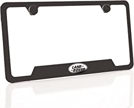 KA Depot One Fit Land Rover Logo on Matte Black Powder Coated Bottom Cut Out Stainless Steel License Plate Frame Holder Front Or Rear Bracket Laser Etch Engraved Aluminum Screw Cap