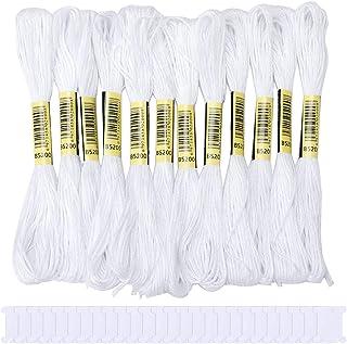 Borduurgaren Pack 24 Skeins Witte Kruissteek Floss met 30 Plastic Floss Spoelen, Ambachten Floss Hand Borduurgaren Draad v...